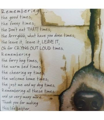 Remembrance Card - about Dogs
